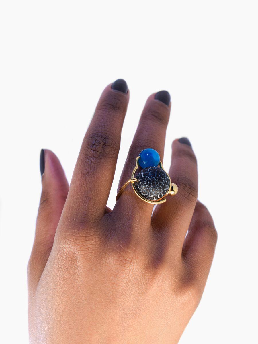 Bague Duality - Pierre Agate noire & bleu - collection Constellation